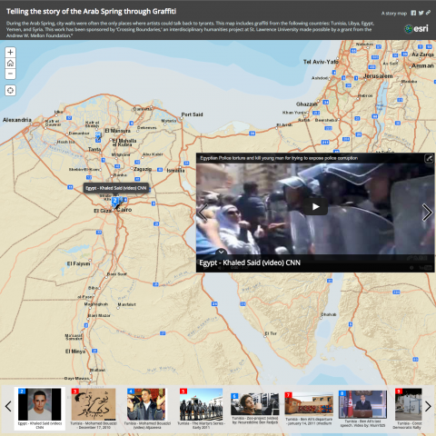 A screenshot of a StoryMap about the Arab Spring.