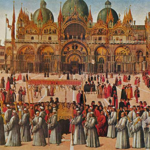 Procession of the True Cross in Piazza San Marco, 1496