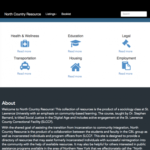 A screenshot of the North Country Resource website.