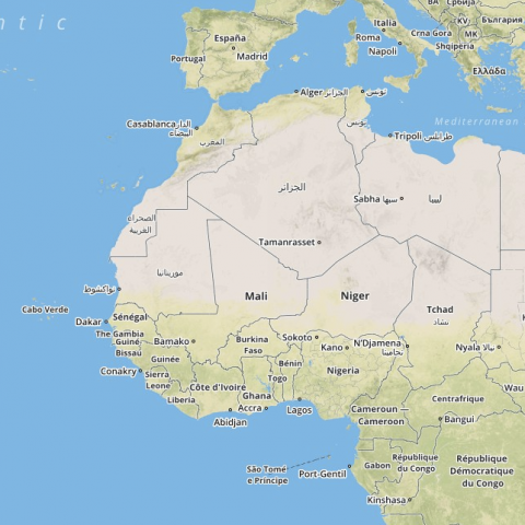 A screenshot of a map of west Africa.