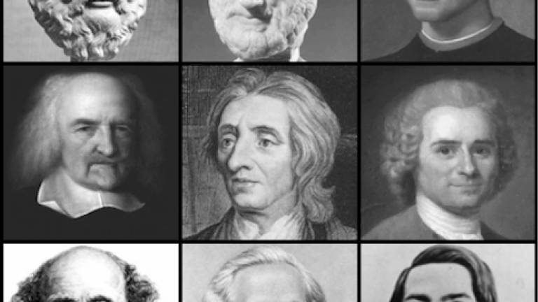 A black and white montage of 9 political theorists.