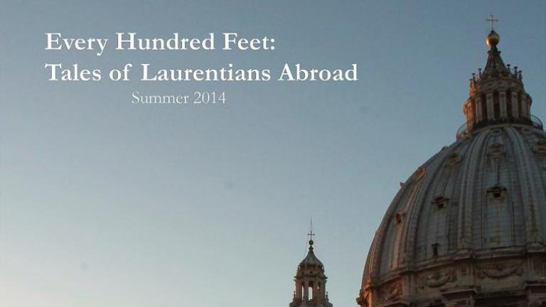 A journal cover for Every Hundred Feet: Tales of Laurentians Abroad.