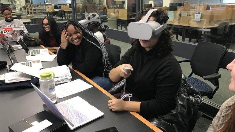 Students using virtual reality goggles